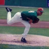 Steve Renko III pitching for the Salinas Peppers 1996