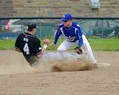 Sliding into second base trying to steal