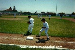 Sandlot game action Holt Baseball summer camp Salinas, CA