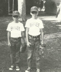 Dave Holt baseball with brother Darren ready for little league game.