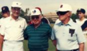 Roy Taylor, Bert Holt and Pete Beiden at COS alumni baseball game.