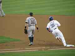 baserunning Martin rounding firstbase heading to seecond