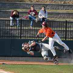 Catcher at VT tagging runner from Longwood University