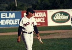 Dave Holt with fungo Elmira Red Sox Dunn Field 1992