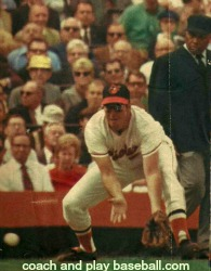 Brooks Robinson ready to field a groundball.