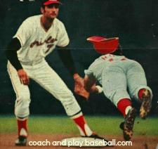 Shortstop Belanger covering second base on Rose stealing the base