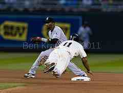 Ben Revere slding safely into second base on the steal.