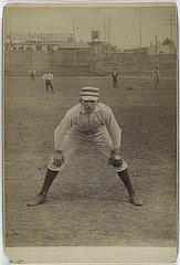 infielder Arthur Irwin Philadelphia Quakers ready position