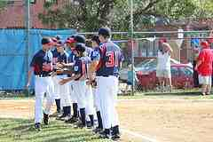 Lining up before the little league all star games