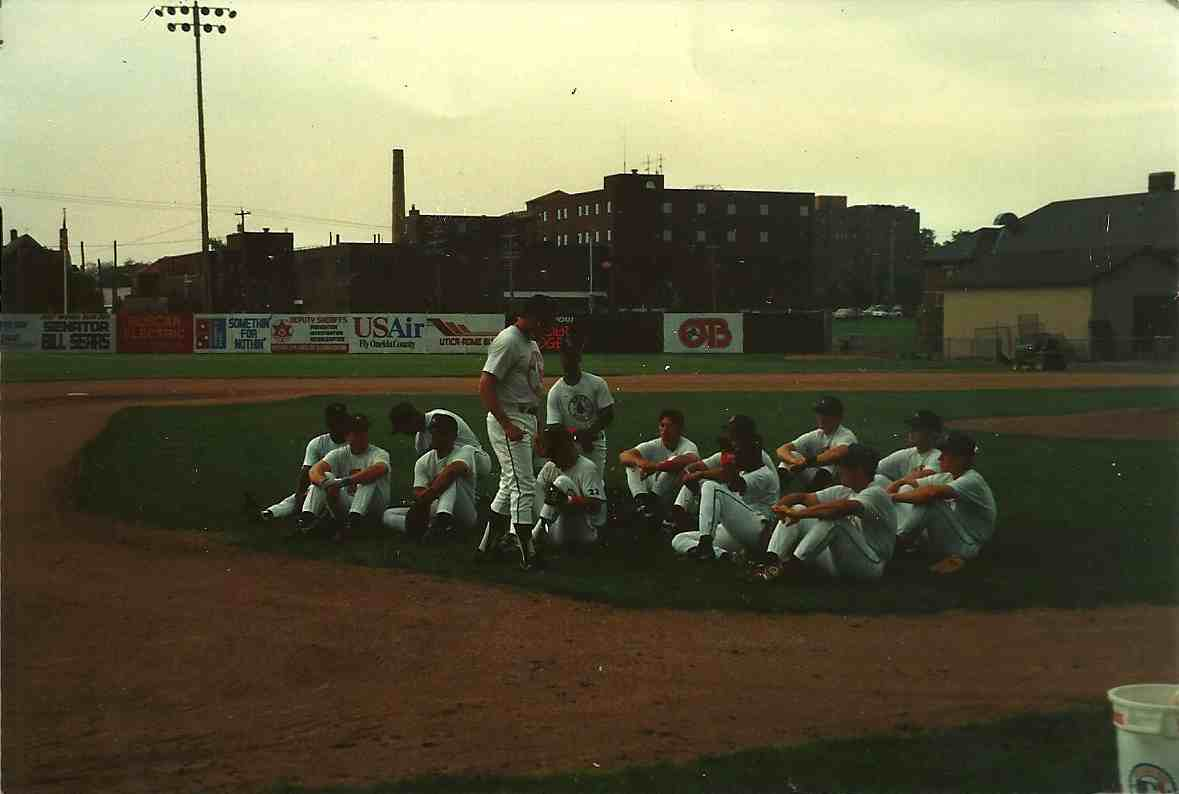 pre game teaching baserunning strategies Utica Blue Sox 1994