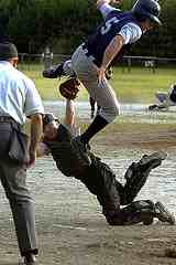 catcher tagging runner in catching tips