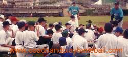 Summer baseball camp coaching and instruction catching and throwing