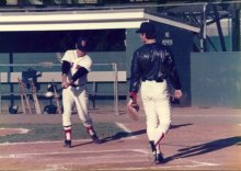 Dave with fungo and catcher Tony Defrancesco at New Britain, Ct.