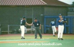 Introduce yourself and call the umpire by name...NOT 'BLUE